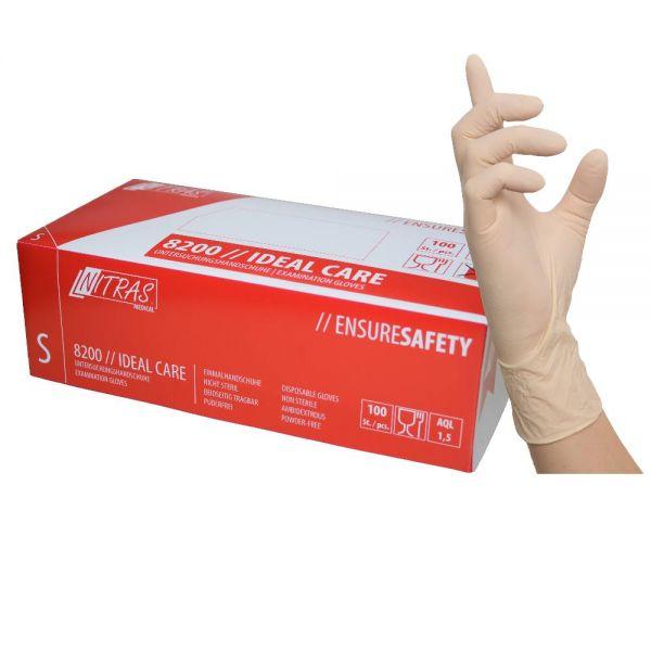 Nitras® 8200 Ideal Care Latex Einweghandschuhe 100er Box