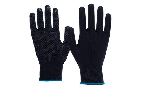 Nitras 6101 Strickhandschuhe Blau mit Noppen