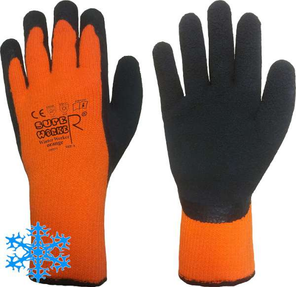 Latex Winter Arbeitshandschuhe Winter Worker Orange
